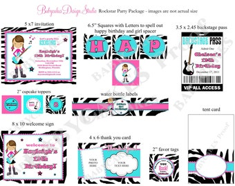 Rockstar Birthday Party Package - Rockstar Invitation Rockstar birthday invitation girl pink zebra Print your Own  - Choose your Girl