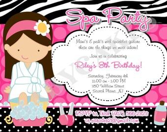 Spa Party birthday invitation invite pamper party glamour spa day, Digital DIY Printable