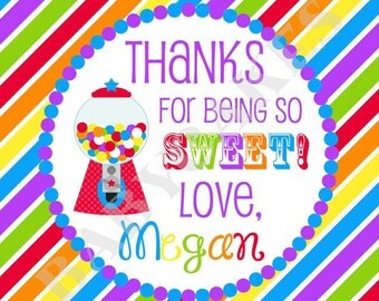 Sweet Shoppe Party Favor Tags - DIY Print Your Own - Candyland Thank You tags