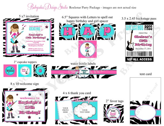 Rockstar Birthday Party Package - Print your Own  - Choose your Girl