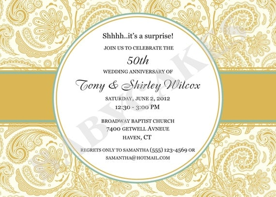 1 Year Wedding Anniversary Dinner Ideas : 50th Anniversary Invitation Rehearsal Dinner - DIY print your own READ ...