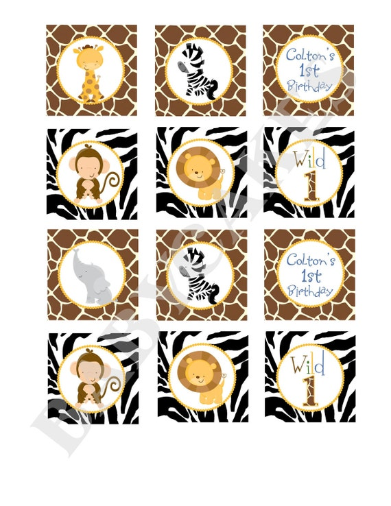 Safari Jungle Animals Cupcake Toppers Birthday Stickers Labels tags -  DIY Print Your Own