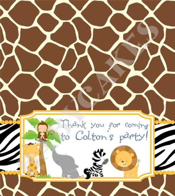 Safari Jungle Animals Goody Bag Topper Candy Bag  -  DIY Print Your Own