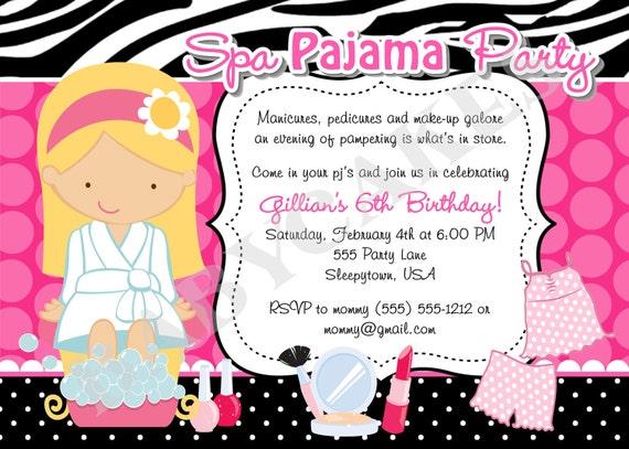 Spa Pajama Party Invitation invite spa party sleepover spa day pamper party sleep over Invitation Invite Choose your girl