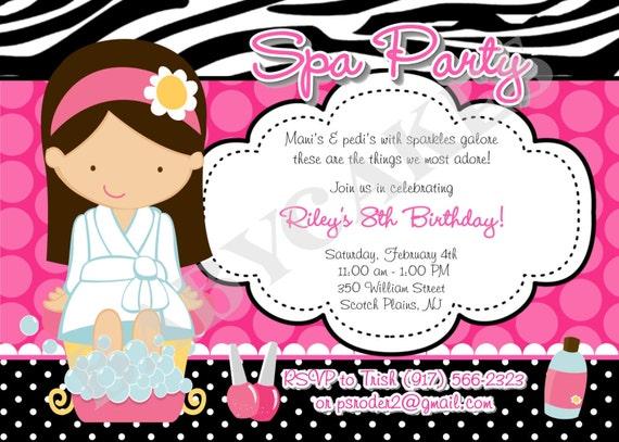 spa party birthday invitation invitation spa party invitation, Party invitations
