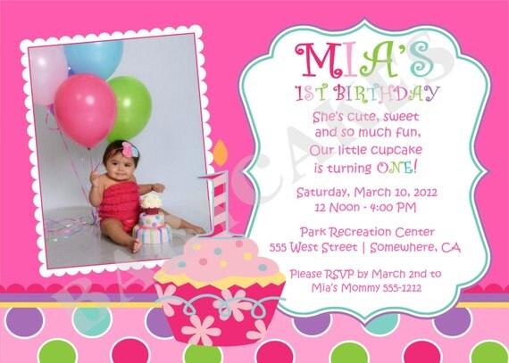 Sweet Little Cupcake Birthday Invitation Photo -  DIY Print Your Own - Matching Party Printables Available