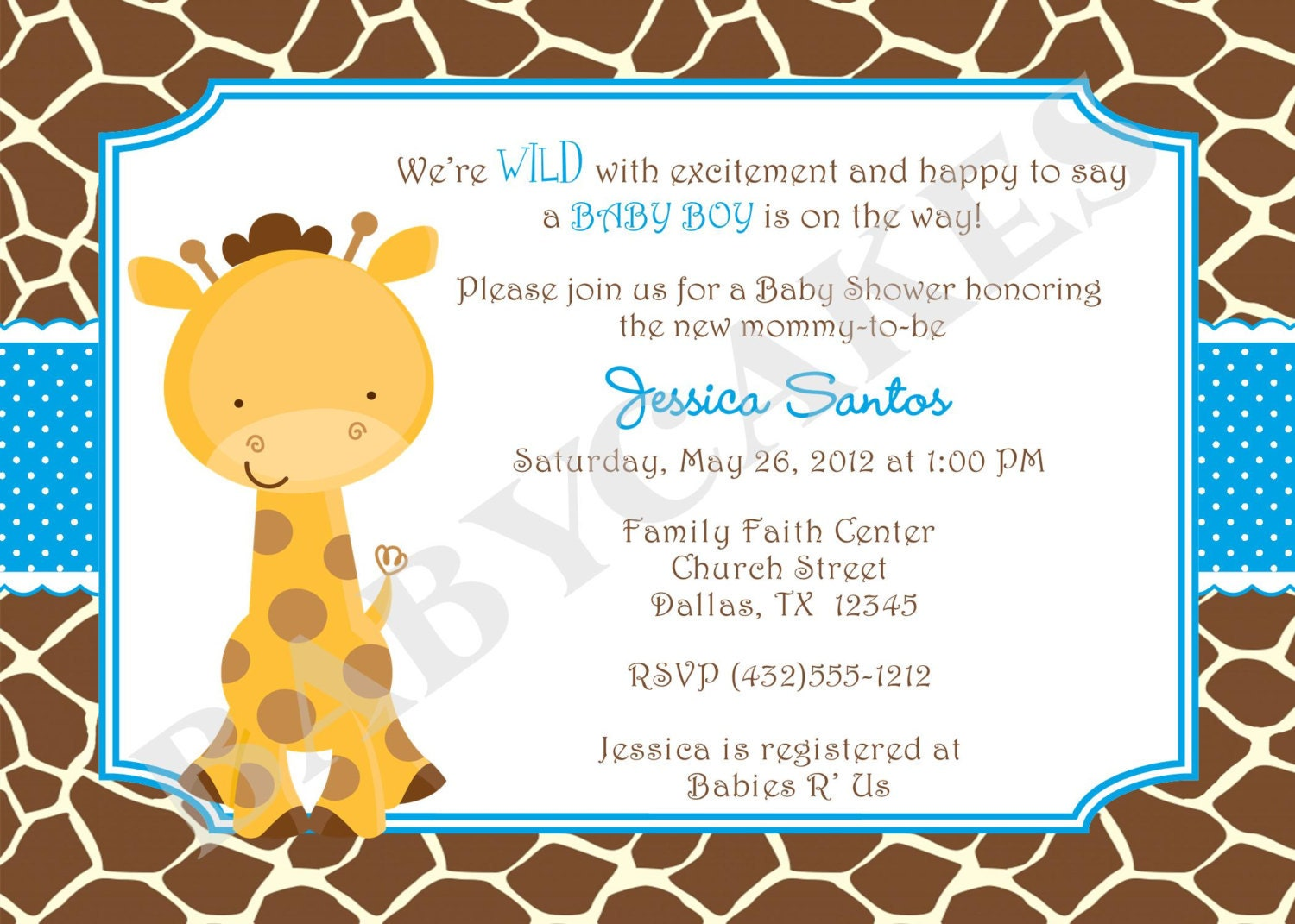 giraffe baby shower invitation baby sprinkle twins by jcbabycakes
