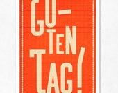 Guten tag orange. Extra Large illustration print 16.50 x 23.4 (A2). Big Poster in german.