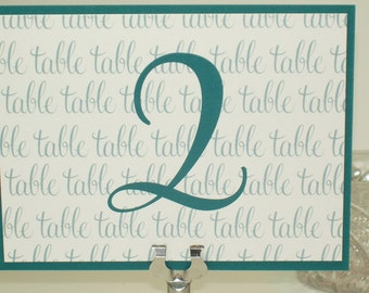Wedding Table Numbers / Wedding Table Cards / Teal