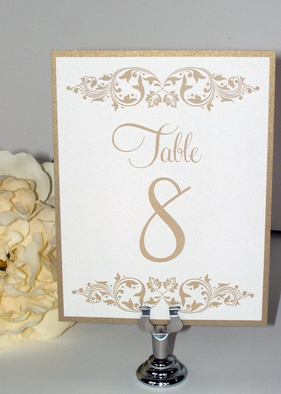 Items Similar To Antique Gold Leaf Shimmer Metallic Wedding Reception Table Numbers Number Cards