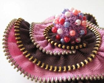 Pink Lotus Zipper Brooch Pin
