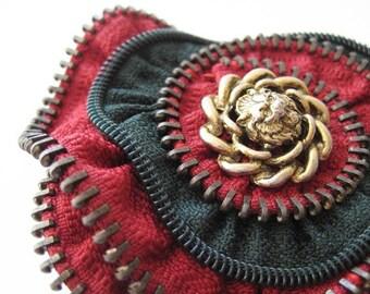 Red & Green Flower Zipper Brooch Pin