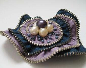 Purple Beads Flower Zipper Brooch Pin