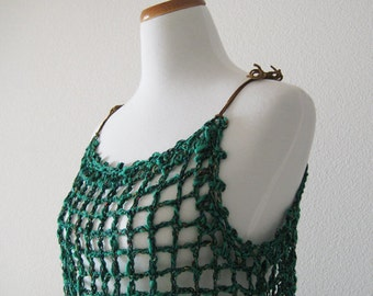 Green Tank Top with Leather Strap
