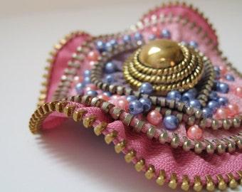 Purple & Pink Flower Zipper Brooch Pin