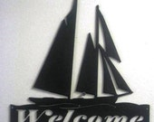 Metal Sailboat Welcome Sign - Wall Art