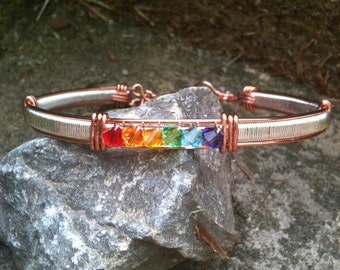 Rainbow Gay Lesbian Crystal Pride Bangle Bracelet LGBT/GLBT From MoonshineGems