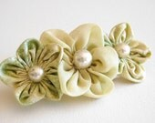 RESERVED - Spring Flowers Hair Clip - Vintage Fabrics - RESERVED
