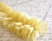 Yellow Chiffon Ruffle Necklace - Vintage Fabrics