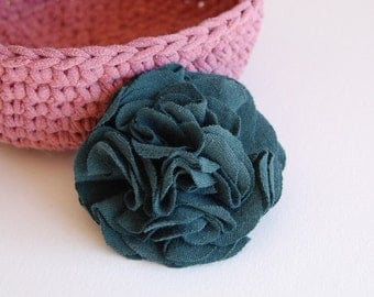 Hunter Green Carnation Brooch/Pin - Recycled Tshirt