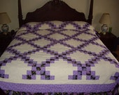Quilt, Cal. king double Irish chain in beautiful purples. (free shipping)