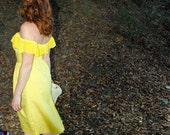 Carolyn - Off Shoulder Ruffle Tea Length Dress