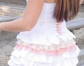 Faye - Peach & Cream Vintage Lace Cotton Ruffled Mini