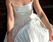 Grace - Ivory Silk Pleated Tea Dress