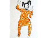 original  watercolor painting  figurative DANCER  portrait