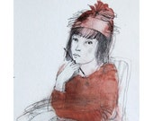 original mixed media, figurative, watercolor, LETTER, girl in red