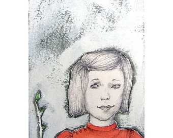 Girl in Red portrait illustration drawing people painting art print of original face spring