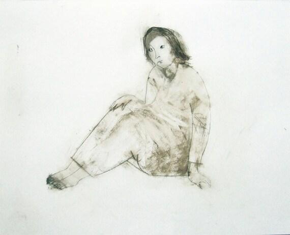original technique drawing  figurative woman  OLGA portrait