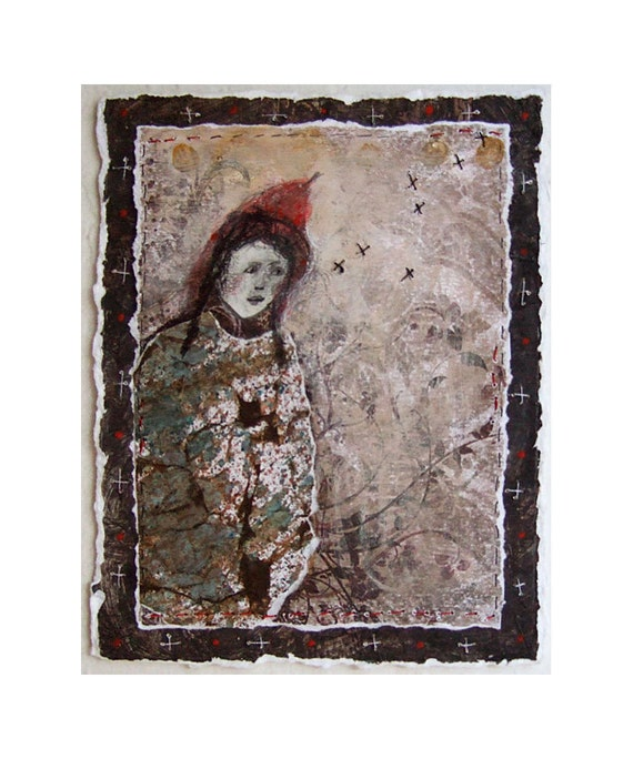 original mixed media figurative IN the  WOODS embroidery paper