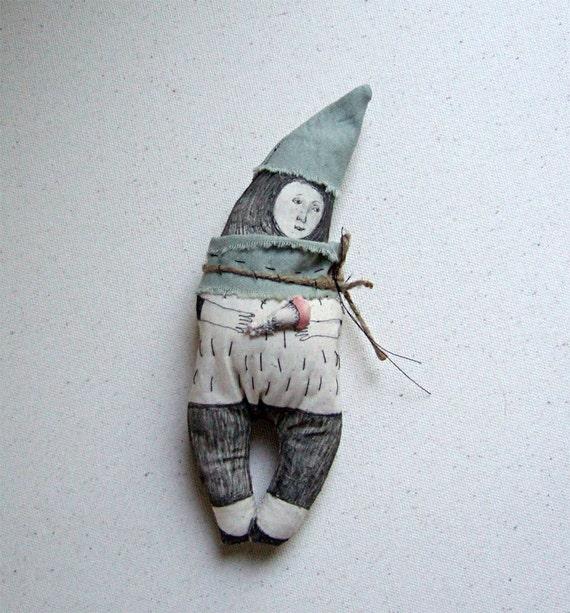 art soft doll , FOREST MAN with a MUSHROOM