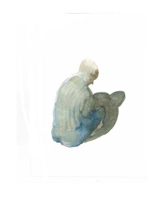 MEDITATION original watercolor painting,  figurative man sitting