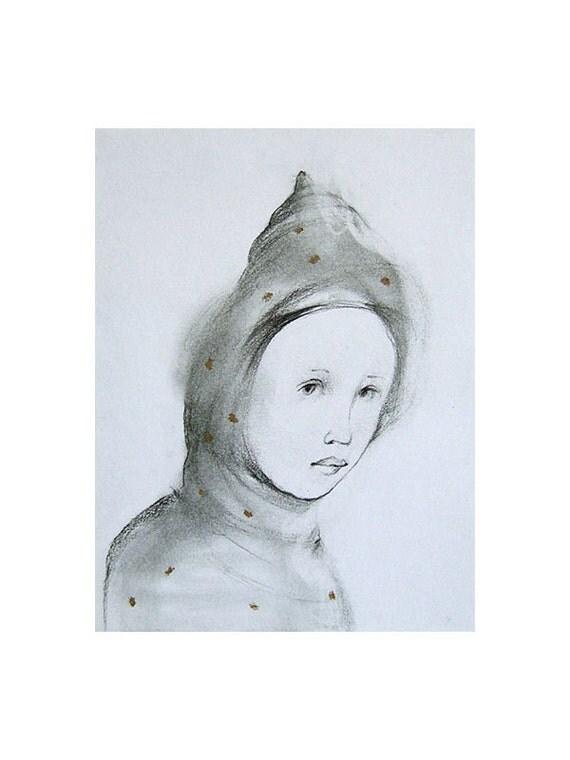 SALE original  drawing ,  portrait,  AMY, pencil