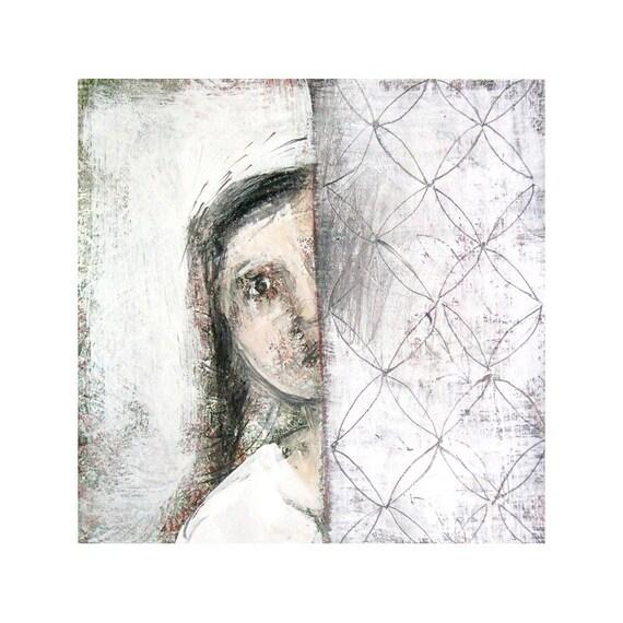 art print, figurative,  AROUND the CORNER, girl  portrait