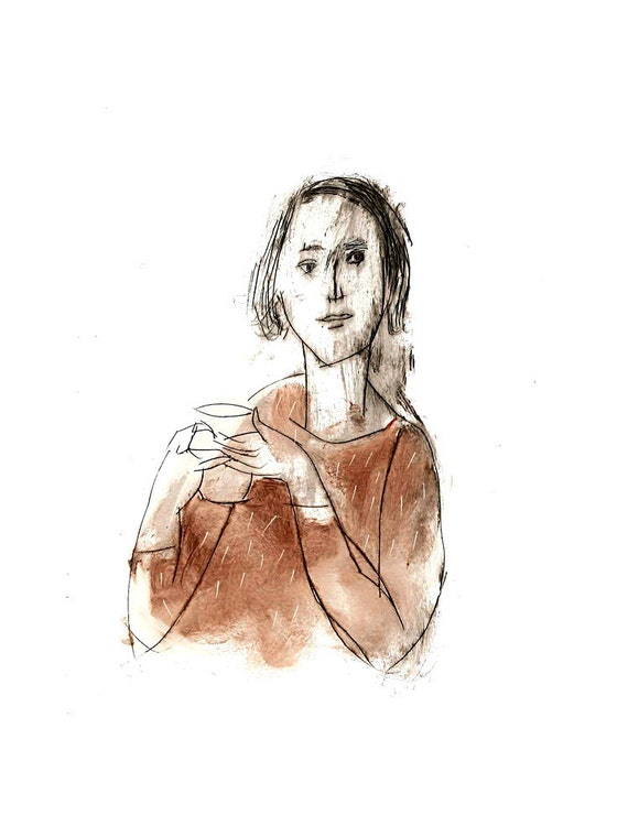 WOMAN with a COFFEE CUP art print portrait figurative