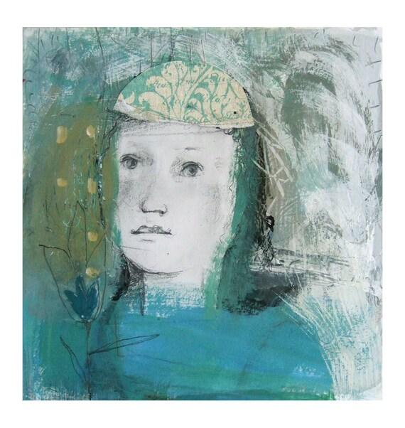BLUE FLOWER original mixed media girl portrait woman