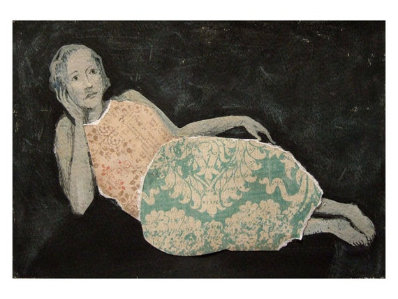 AUTUMN original  mixed media, figurative, woman, NATALIA, portrait