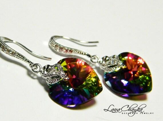 Earrings Swarovski Heart Vitrail Medium Crystal Cubic Zirconia Rhodium Sterling Silver FREE US Shipping
