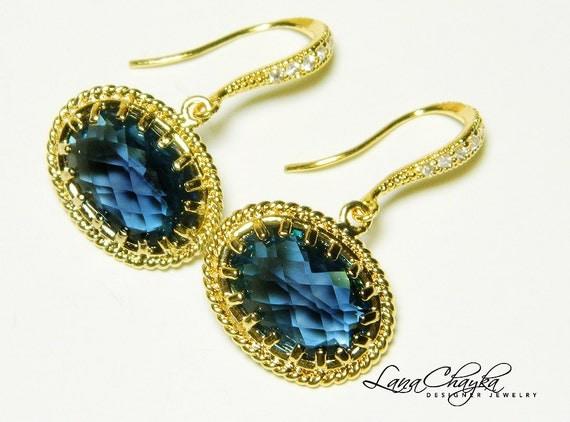 Earrings Vermeil Cubic Zirconia Montana Blue Stones FREE US Shipping