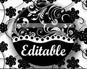 INSTANT DOWNLOAD Editable PDF Black and White Floral (170) 4x6 Bottle Cap Images Digital Collage Sheet for bottlecaps hair bows images