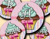 INSTANT DOWNLOAD Lovely Cupcake Alphabet (144) 4x6 Digital Collage Sheet Bottle Cap Images for bottlecaps glass tiles hair bows magnets ....