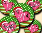 INSTANT DOWNLOAD Cutie Christmas Alphabet (085) 4x6 Digital Collage Bottle Cap Images for bottlecaps hair bows   bottlecap images