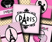 INSTANT DOWNLOAD Paris (230) 4x6 Digital Collage Sheet 1 inch square images for glass tiles resin pendants magnets stickers ..