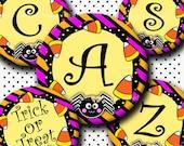 INSTANT DOWNLOAD Halloween Cute Spider Alphabet (284) 4x6 Digital Collage Sheet Bottle Cap Images for bottlecaps hair bows  bottlecap images