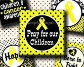 INSTANT DOWNLOAD Childrens Cancer Awareness Yellow Ribbon (359) 4x6 Digital Collage Sheet 1 inch square images glass tiles resin pendants