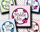 INSTANT DOWNLOAD Sweet Big Sis Lil Sis Middle Sis Ladybug (153) 4x6 Digital Collage Sheet 1 inch square images glass tiles resin pendants
