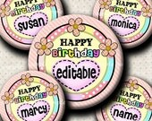INSTANT DOWNLOAD Editable PDF Happy Birthday (410) 4x6 Bottle Cap Images Digital Collage Sheet for bottlecaps  hair bows .. bottlecap images